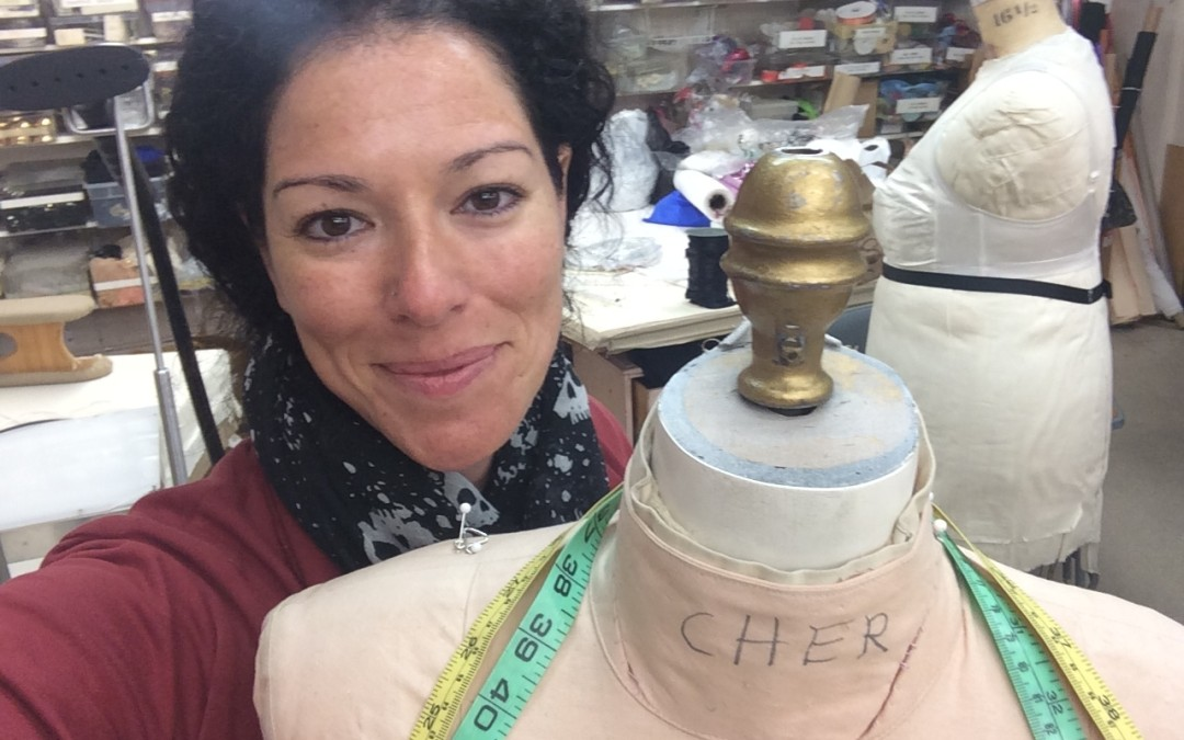 Veronica Puleo at the Bob Mackie costume shop with Cher's Mannequin